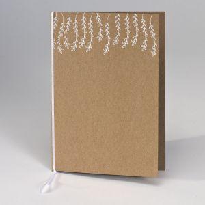 Kraft kaftje voor ceremonieboekje witte blaadjes