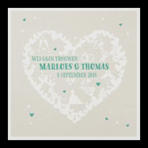 Hippe trouwkaart met diverse symbolen uit de liefde