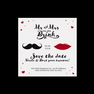 Save the date met snor en rode lippen, MR & MRS