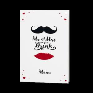 Menukaart passend bij de hippe MR & MRS trouwkaart met speelse typografie