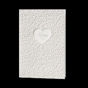 Menukaart passend bij de klassieke trouwkaart met strass steentjes