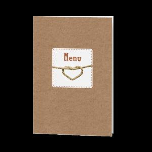 Menukaart passend bij de hippe, typografische trouwkaart op kraftpapier