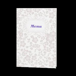 Menukaart passend bij de elegante clutch trouwkaart met barokmotief