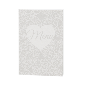 Menukaart passend bij de hippe trouwkaart met diverse symbolen