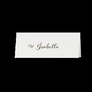 Tafelkaartje passend bij de trouwkaart op parelmoerpapier met lint en harten
