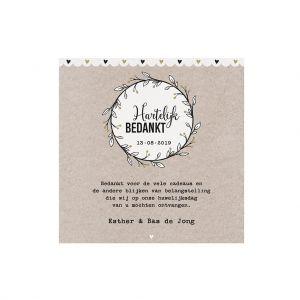 Slingerkaart als dankwoord met gouden details