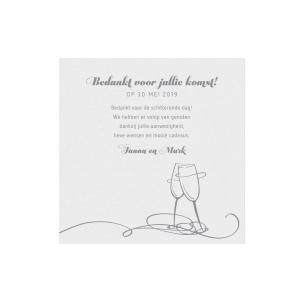 Deze Save the Date kaart of bedankkaart cheers is onderdeel van een set. De bijpassende uitnodiging is: 786086.