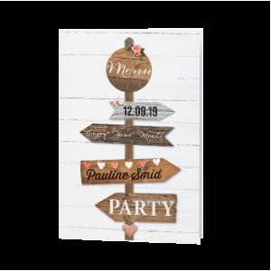 Deze menukaart met wegwijzerborden maakt onderdeel uit van een set. De bijpassende uitnodiging vind je onder artikelnummer: 786060