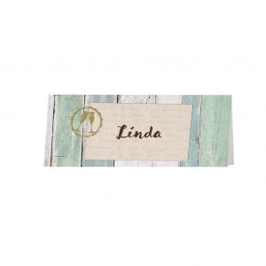 Deze tafelkaart retro met boothoutlook is onderdeel van een set, artikelnummer 786061