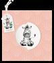 Lieve zebra op een zalmroze geboortekaartje met label en draaischijf