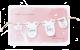 Roze geboortekaartjes met baby kleertjes