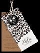 Geboortekaartje luipaard labelkaartje in het roze