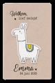 Kraft geboortekaartje met Lama
