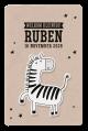 Tof geboortekaartje zebra met dieren erop