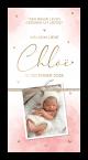 Geboortekaartje roze aquarel met gouden hartjes