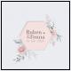 huwelijkskaart met zeshoekige stans omlijst met goudfolie elementen in pastelkleuren
