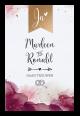 Huwelijkskaart bordeaux rode uitnodigingskaart.  Luxe zig-zag trouwkaart met aquarel achtergrond en gouden stippen