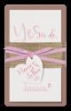 Stijlvolle kraft trouwkaart met hangend hart.  Trendy huwelijksaankondiging, helemaal naar eigen wens in te vullen