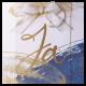 Huwelijkskaart in aquarelblauw met gouden Ja en gouden bedrukking