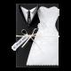 originele trouwkaart met trouwkleding en luxe details