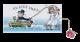 Vrolijke getekende trouwkaart met bruidspaar in een bootje