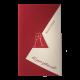 Bordeauxrode uitnodigingskaart met gouden champagneglazen met inlegvel