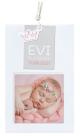 Dit moderne geboortekaartje heeft hippe bootjes labels en label met plaats voor een foto van jullie prinsesje!