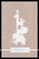 Geboortekaartje met bosdieren leuk label voor de naam en wit suède koordje.