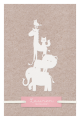 Stoer kraft geboortekaartje roze met lieve dieren