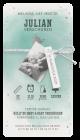 Hip geboortekaartje met waterverf, lief walvisje en zilveren sterretjes, leuke labels en mooi wit/zilveren koordje.