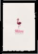 Lief geboortekaartje met een hippe roze flamingo.