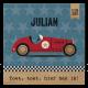 Stoer geboortekaartje voor een jongen, met vintage auto en coole sterren en gouden elementen.