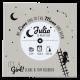 Origineel geboortekaartje in de vorm van een LP met silhouette, sterrenhemel en sterrenbeeld.