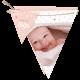 Kondig de geboorte van jullie baby aan met dit originele geboortekaartje: een geheel naar wens aanpasbare vlaggenlijn.