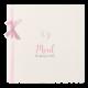 Geboortekaartje met illustratie en een lief roze lintje