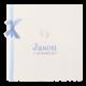 Geboortekaartje met illustratie en een lief blauw lintje