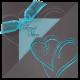 Deze trouwkaart heeft een prachtige kleurencombinatie van donkergrijs en turquoise