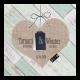Hippe trouwkaart in mintgroen met steigerhout en hart