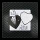 Stijlvolle trouwkaart met zwart & wit hartje en luxe details