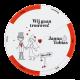 Originele, ronde trouwkaart met grappige icoontjes