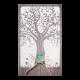 Huwelijkskaart met boom, hartje en strikje