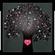 Moderne trouwkaart met boom van hartjes en opvallend roze binnenkant