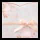 Trouwkaart met transparante omslag van rozen en zachtroze lintje