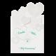 Moderne trouwkaart met originele uitsnede van hartjes