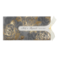 Luxe pochette trouwkaart met originele uitsnede, goudfolie en strikje