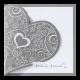 Trouwkaart met sierlijk hart en parelmoerwit inlegvel