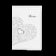 Menukaart passend bij de trouwkaart met sierlijk hart en inlegvel