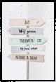 Mooie trouwkaart met originele vouwwijze en uitgesneden richtingpaal