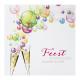 Kleurrijke uitnodiging op sprankelend papier met 'Feest' in felrozefolie.
