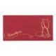 Glinsterend bordeaux rode kaart met sierlijke glaasjes in goudfolie met reliëf.